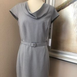 Calvin Klein Grey Cowl Neck Sheath Belted Dress